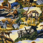Bringing Nature Home Lion Vista Cotton Fabric - Wild
