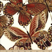 Bronze Shimmer Butterflies Cotton Fabric - Cream CM9294
