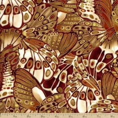 Bronze Shimmer Butterfly Wings Cotton Fabric - Rust CM9296