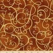 Bronze Shimmer Scroll Cotton Fabric - Ginger CM9298
