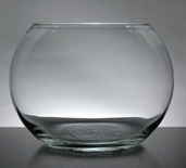 Bubble Bowl Vase 6in Set of 2 -  Clear Glass