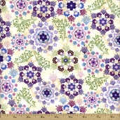 Budding Beauties Floral Cotton Fabric - Ecru