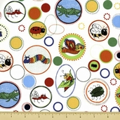 Bug a Boo Cotton Fabric - Buggy Circles - White