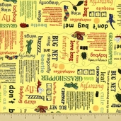 Bug a Boo Cotton Fabric - Buggy Words - Yellow