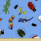 Bug a Boo Cotton Fabric - Bugs All Over - Blue