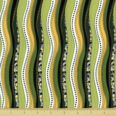 Bug a Boo Cotton Fabric - Wonky Stripe - Green - Clearance