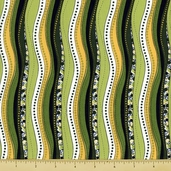 Bug a Boo Cotton Fabric - Wonky Stripe - Green