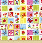 Bugs Cotton Fabric - Blocks - Multi