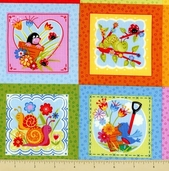 Bugs Cotton Fabric - Medium Blocks - Multi