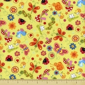 Bugs Cotton Fabric - Tossed Green