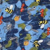 Bugs Life Fleece Polyester Fabric - Blue