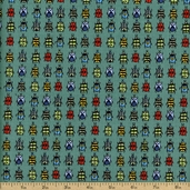 Bugs Tiny Bugs Cotton Fabric - Turquoise