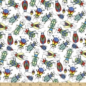 Bugs Toss Cotton Fabric - White