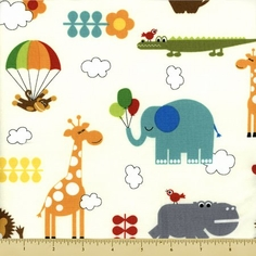 Bungle Jungle Cotton Fabric - Critter Toss - Cream