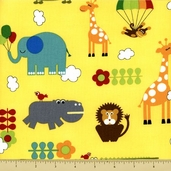 Bungle Jungle Cotton Fabric - Critter Toss - Yellow