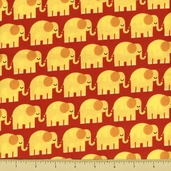 Bungle Jungle Cotton Fabric - Elephant Toss - Red