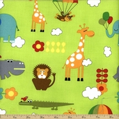 Bungle Jungle Cotton Fabric - Lime Green 39501-16