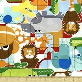Bungle Jungle Cotton Fabric - Puzzle Pattern - Multi