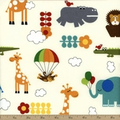 Bungle Jungle Laminated Cotton Fabric - Ivory 39501-11C