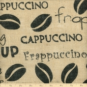 Burlap Coffee Beans Fabric - Brown