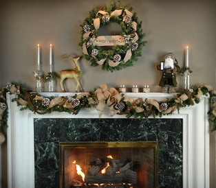 Burlap Mantel Decor
