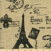 Burlap Paris Eiffel Tower Fabric - Black