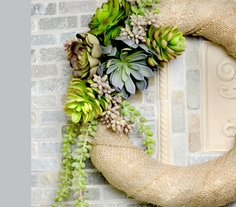 Burlap Wrapped Succulent Wreath