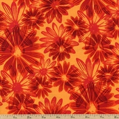 Bursting With Color Cotton Fabric - Tangerine J8664-152