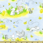 Buttercup Babies Animal Flannel Fabric - Light Blue 5889-11