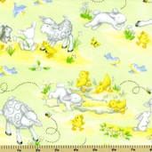 Buttercup Babies Animal Flannel Fabric - Light Green 5889-66