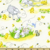 Buttercup Babies Animal Flannel Fabric - White 5889-4