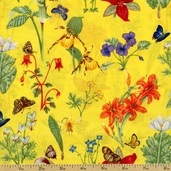 Butterflies & Flowers Cotton Fabric - Yellow AG-1005-1B