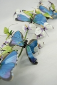 Butterfly Branch with 22 Blue and Green butterflies - Clearance