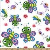 Butterfly Flannel Fabric - White