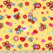Butterfly Flannel Fabric - Yellow 21541