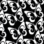 Butterfly Swirl Cotton Fabric - Black - CLEARANCE