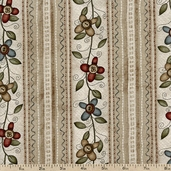 Buttons and Blooms Flower Stripes Cotton Fabric - Beige 4099-22016-BEI1