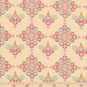 Cabana Blooms Damask Cotton Fabric - Peach