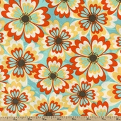 Cabana Blooms Floral Cotton Fabric - Teal 33800-3