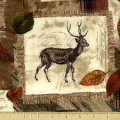 Cabin Fever Cotton Fabric - Allover Lodge Print - Natural