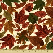 Cabin Fever Cotton Fabric - Fall Leaves - Natural