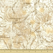 Cabin Fever Cotton Fabric - Map - Cream