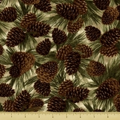 Cabin Fever Cotton Fabric - Pine Cones - Natural