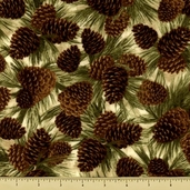 Cabin Fever Cotton Flannel Fabric - Pinecones - Natural