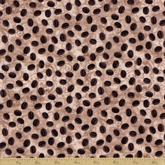 Cafe Au Lait Cotton Fabric - Coffee Bean Collage Tan