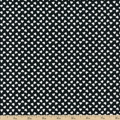 Cafe Hearts Toss Cotton Fabric - Black