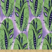 Caiman Cotton Fabric - Periwinkle Banana Leaf