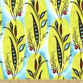 Caiman Cotton Fabric - Turquoise Banana Leaf