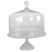 Cake Plate with Glass Dome 12in - Clear Glass