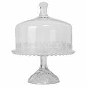 Cake Plate with Glass Dome 9in - Clear Glass
